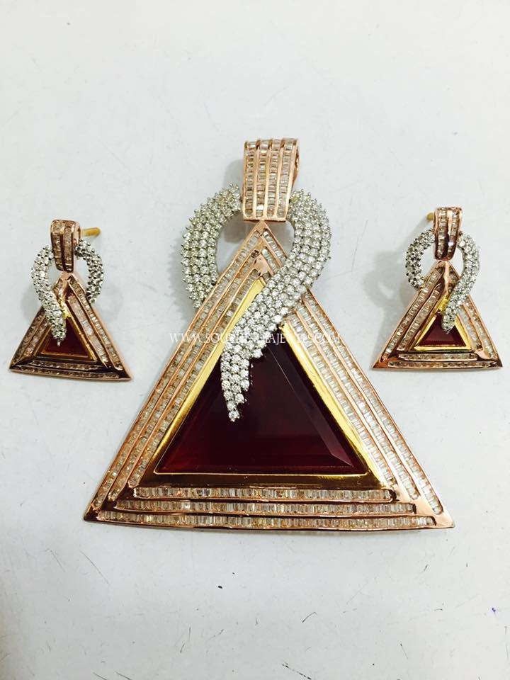 Latest Designer Diamond Pendant Set