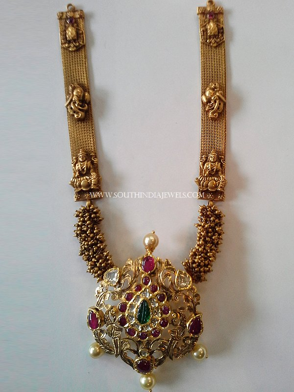 Medium Length Antique Necklace With Ruby Pendant