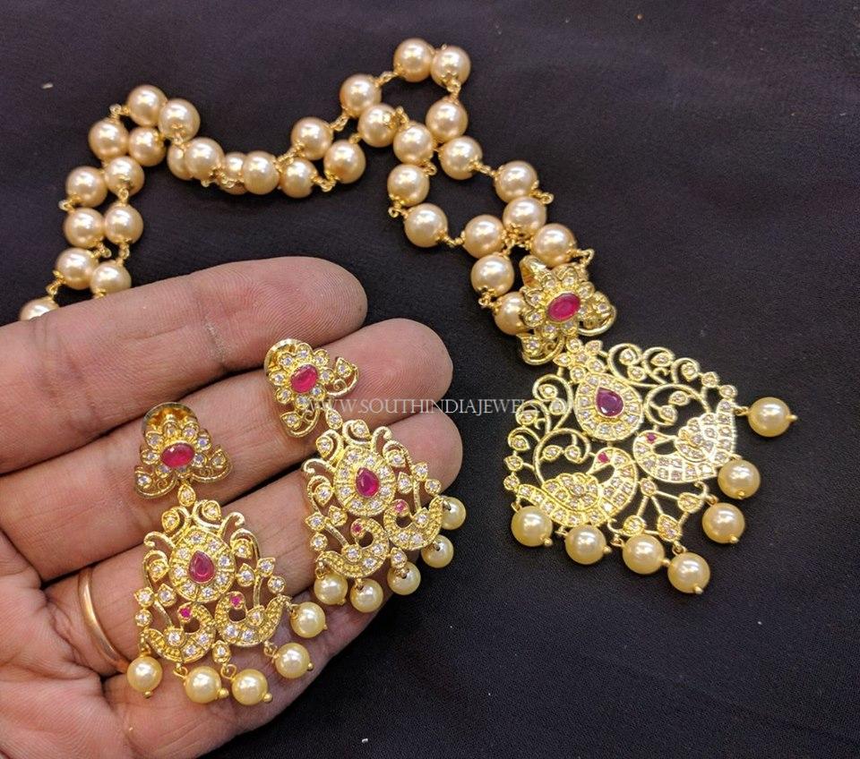 Pearl Mala With Stone Pendant