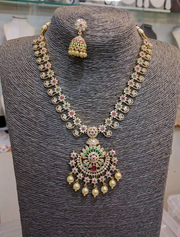 Simple Imitation Stone Necklace Set With Price ~ South India Jewels
