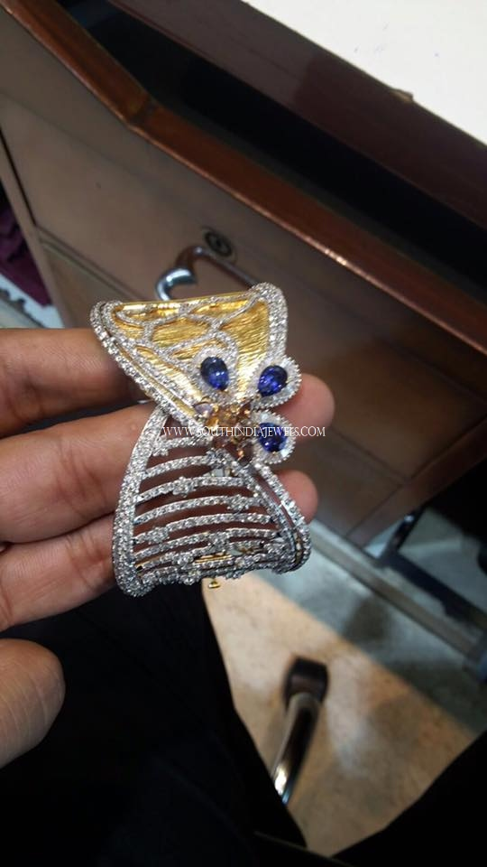 Diamond Cuff With Sapphire