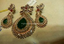 Diamond Emerald Pendant Set