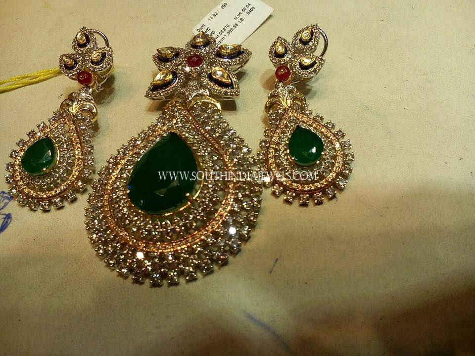 Diamond Emerald Pendant Set
