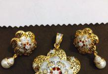 Diamond Floral Pendant Set