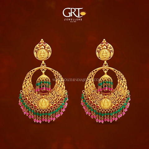 Gold Antique Chandbali Earrings From Grt