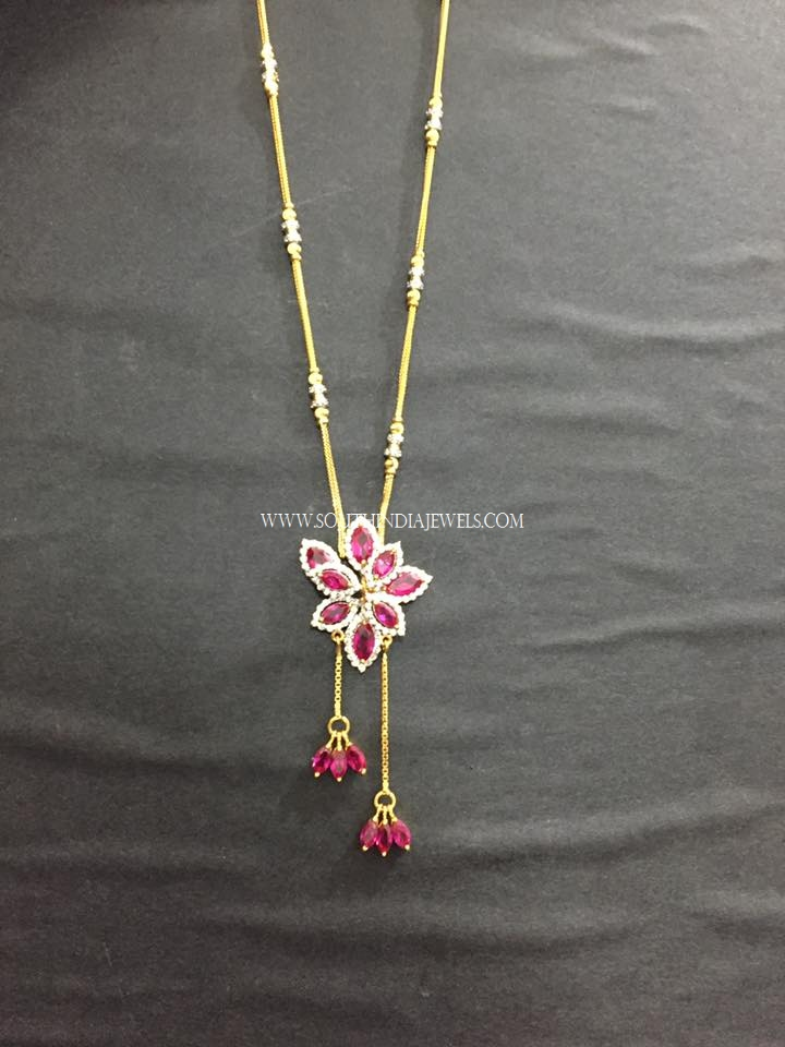 Gold Chain With Diamond Ruby Pendant