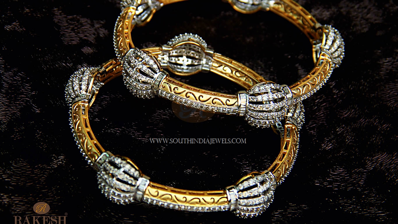 Gold Diamond Bangle From Rakesh Jewellers
