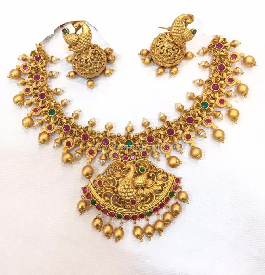 Ruby Emerald Necklace Set With Jhumka
