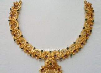 22K Latest Antique Ruby Necklace From New Sri Vasavi