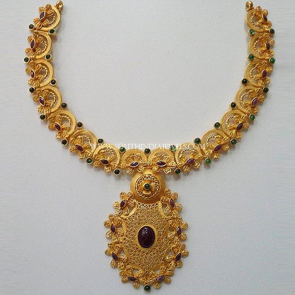 22K Latest Antique Ruby Necklace From New Sri Vasavi