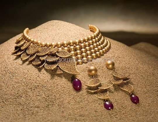 Designer Gold Beaded Choker Set