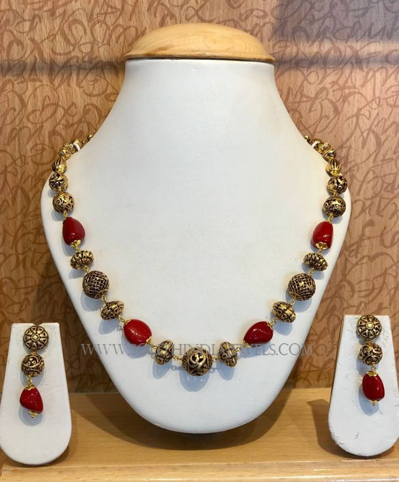 Gold Antique Coral Necklace From Naj