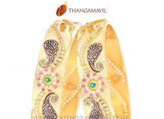 Gold Broad Designer Bangle