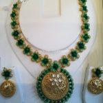 Gold Designer Necklace With Earrings From New Sri Vasavi