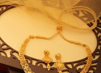 Gold Floral Necklace And Jhumka From Manubhai