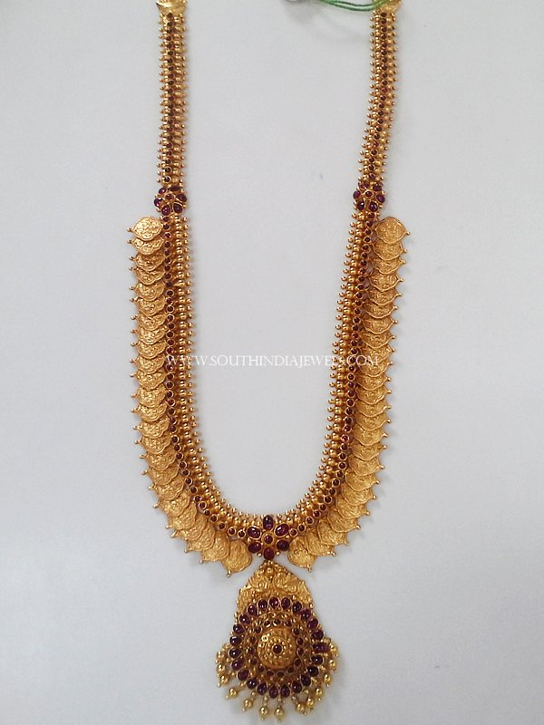 Gold Long Coin Haram With Ruby Pendant