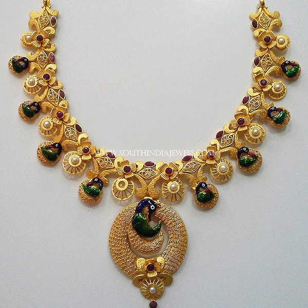 Gold Matt Finish Peacock Necklace