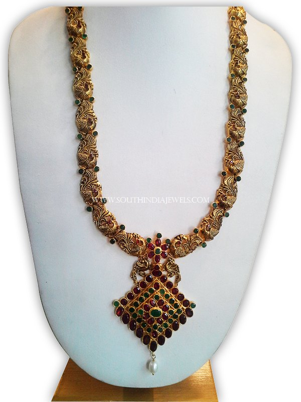 Gold Oxidized Ruby Peacock Haram