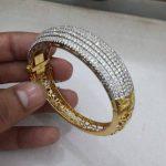 Adjustable Gold Stone Bangle Design