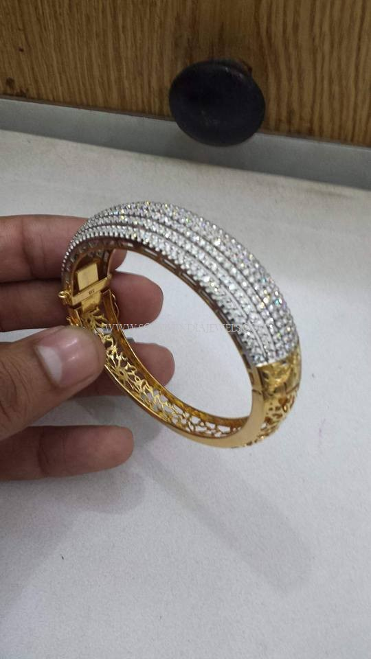 Adjustable Gold Stone Bangle Design South India Jewels