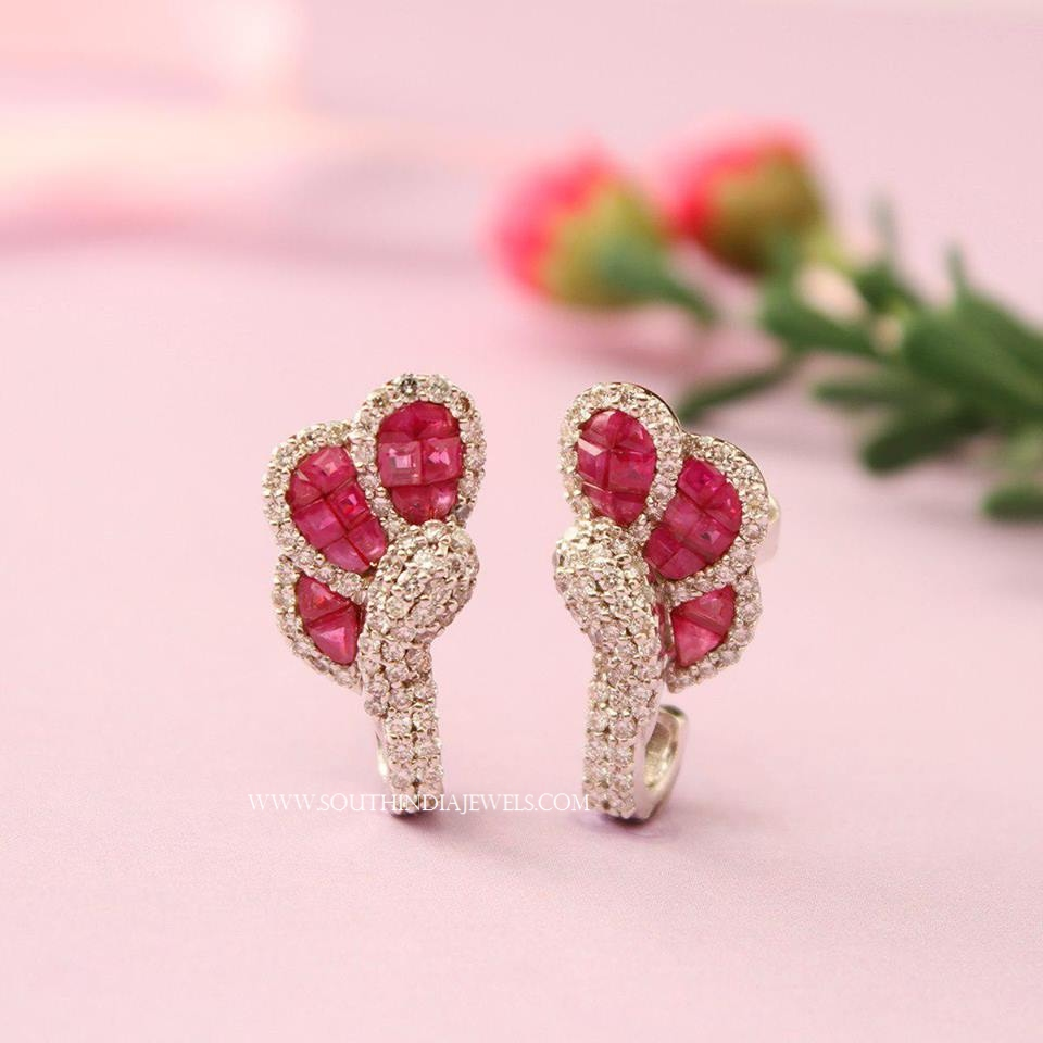 Diamond Ruby Ear Stud