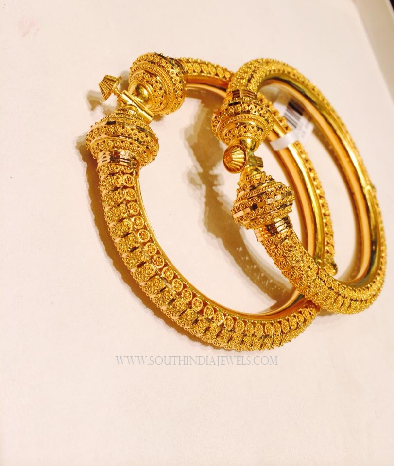 Gold Adjustable Screw Bangles ~ South India Jewels