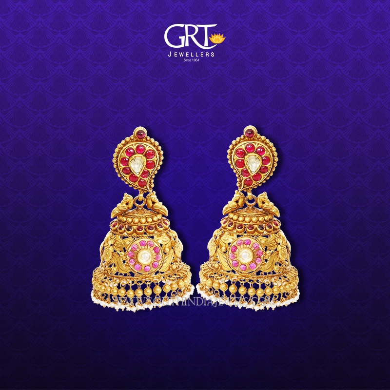 81de3ff90 Gold Antique Jhumka 2017 Design From GRT Jewellers ~ South India Jewels
