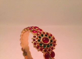 Gold Antique Ruby Bangle