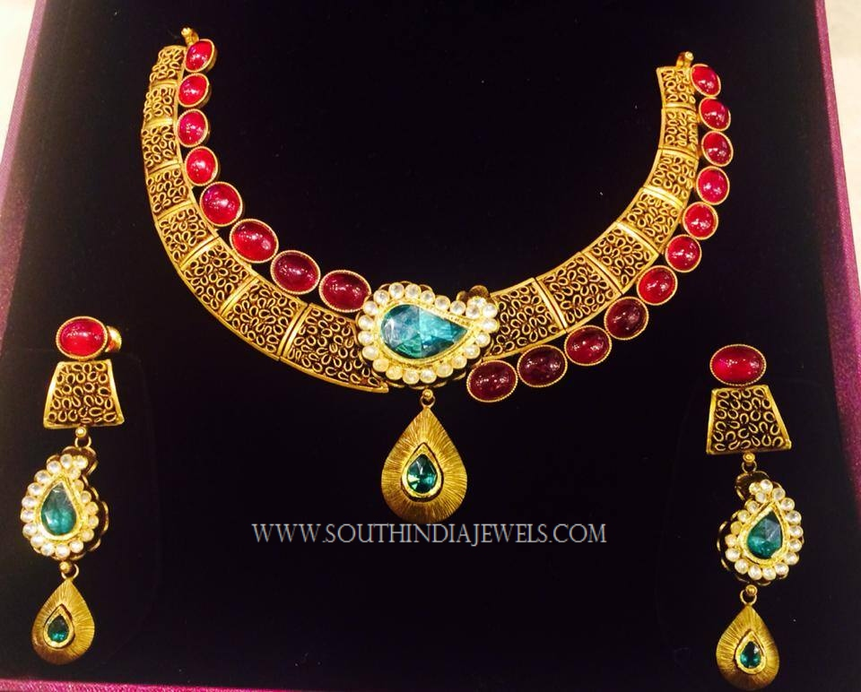 Gold Designer Ruby Necklace