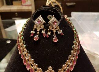 Gold Designer Ruby Necklace SEt