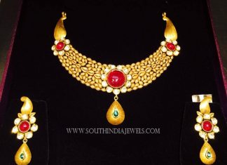 Gold Designer Floral Necklace From K.N Jewellers