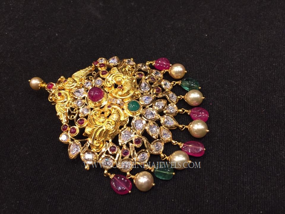 Colorful Gold Peacock Pendant