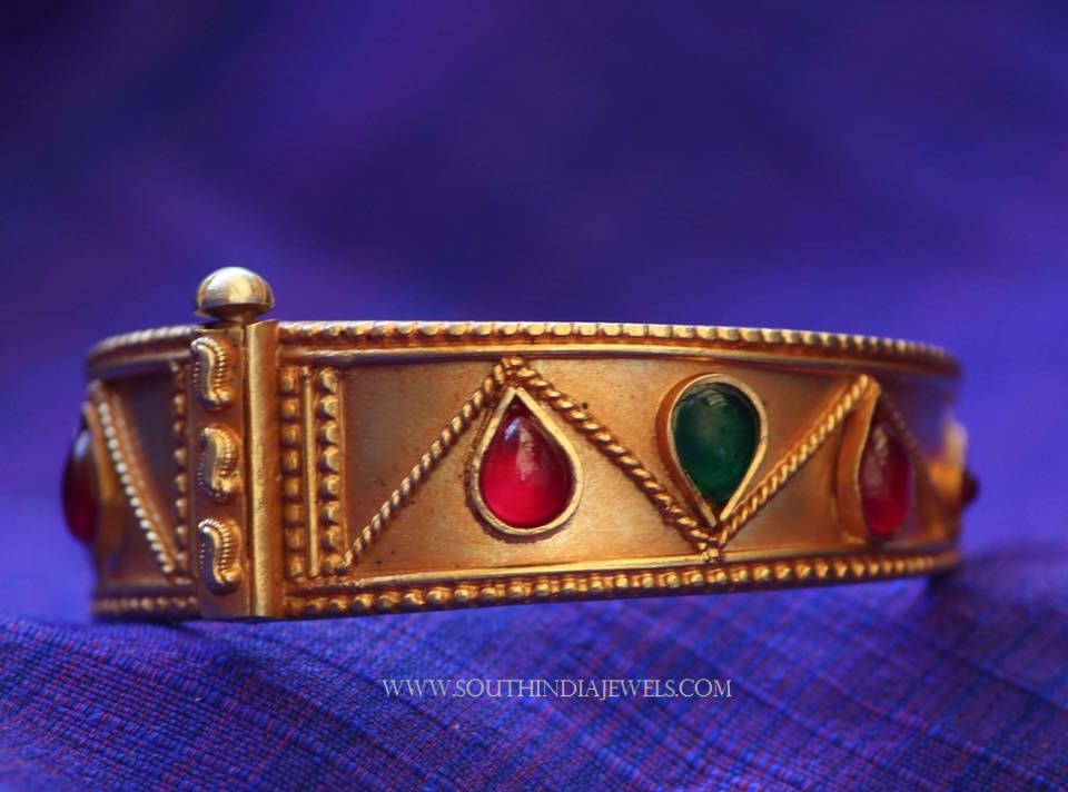 Gold Plated Adjustable Kada With Colorful Stones