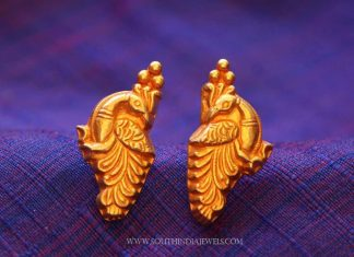 Gold Plated Peacock Ear Stud
