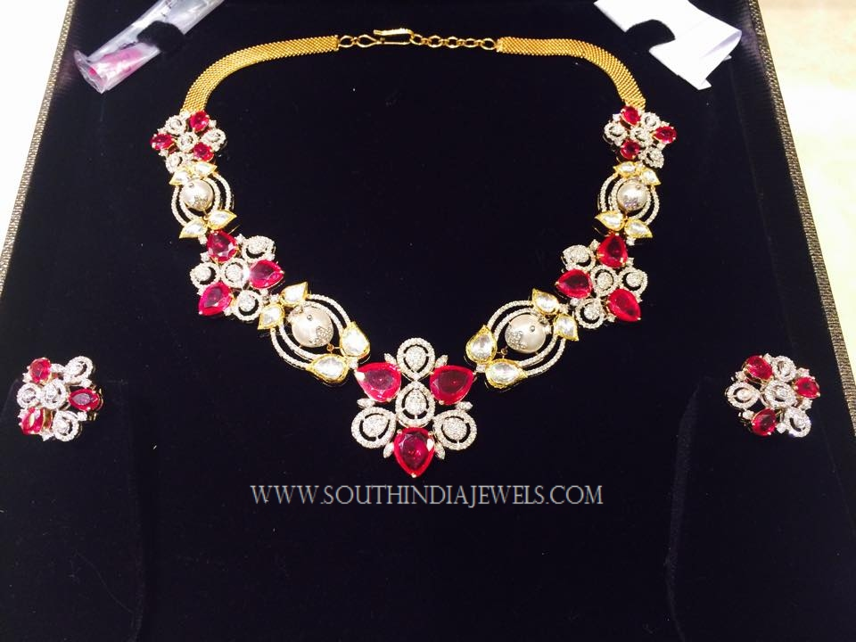 Gold Ruby Stone Necklace Design