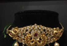 Gold Short Choker Necklace With Stones