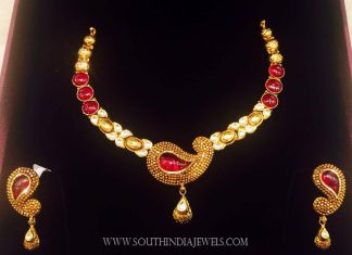 Simple Designer Ruby Necklace By K.N Jewellers