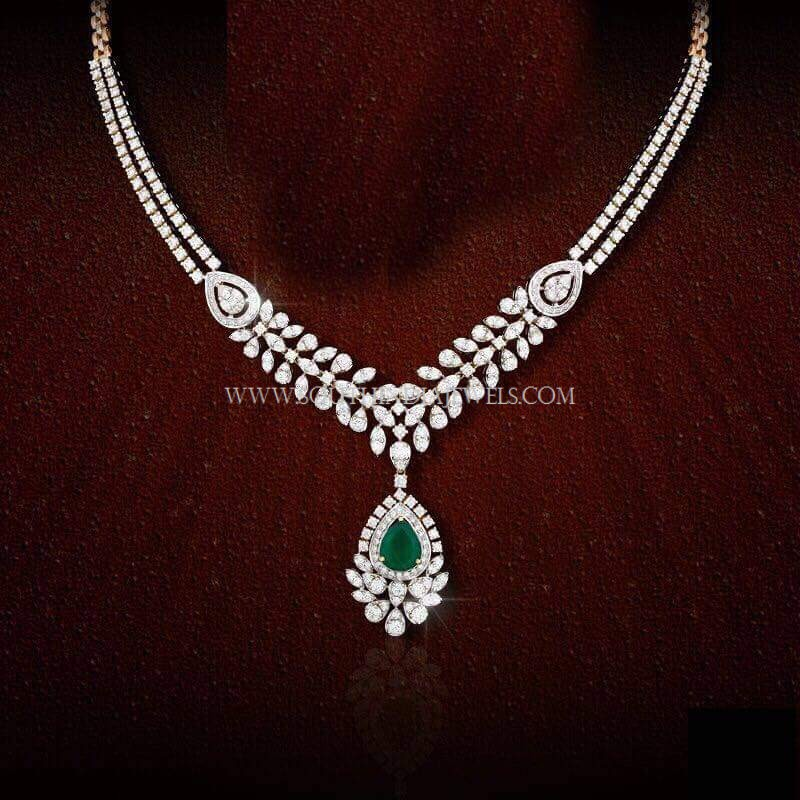 Simple Two Layer Diamond Necklace Set