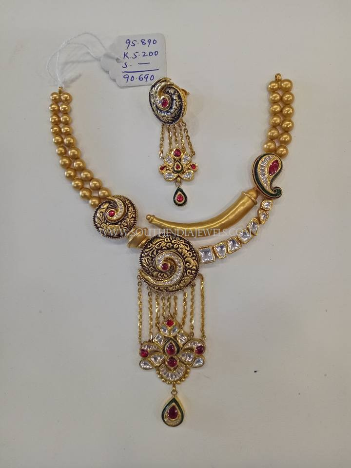 90 Grams Gold Designer Necklace Set