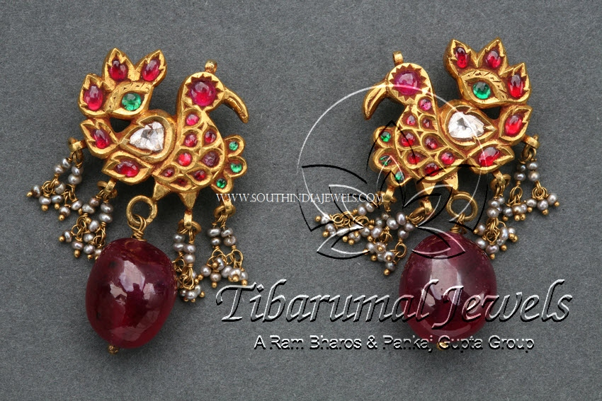 Antique Diamond Ruby Earrings