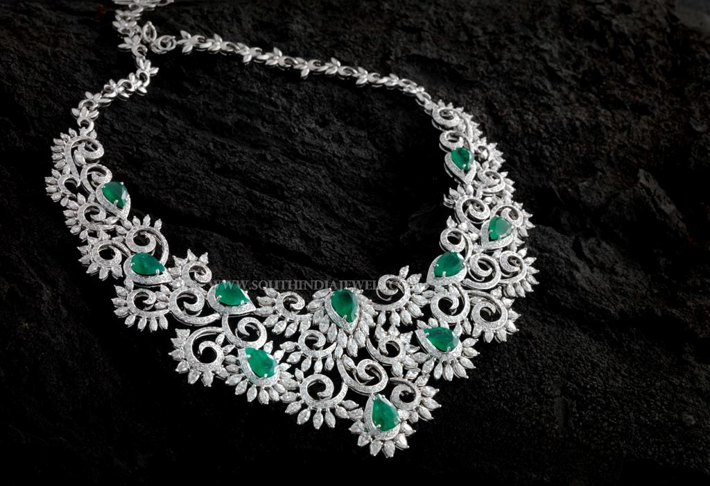 Designer Diamond Emerald Necklace From Aabushan Jewellery