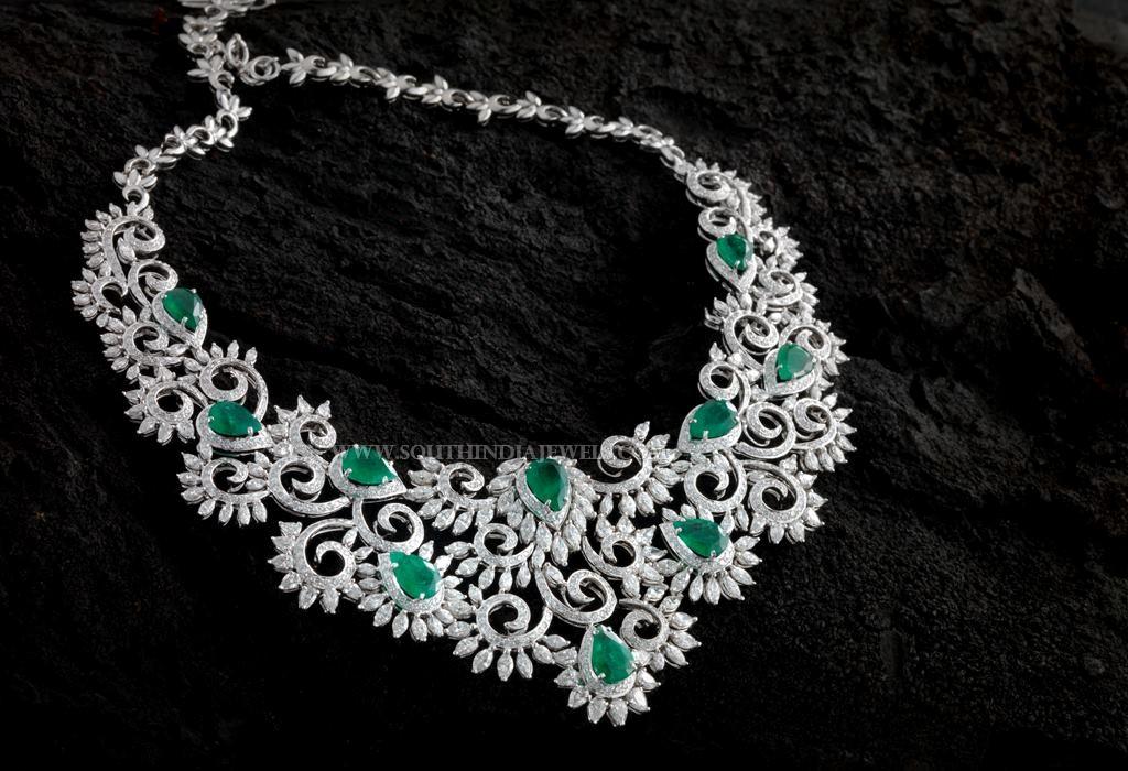Designer Diamond Emerald Necklace From Aabushan Jewellery