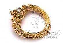 Gold Kada With Flat Diamonds