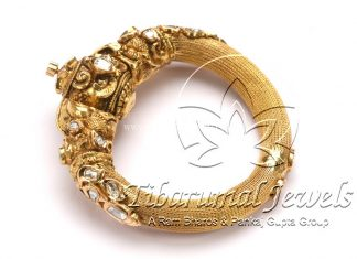 Gold Kada With Flat Diamonds