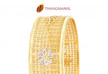 Gold Broad Bangle With White Stones