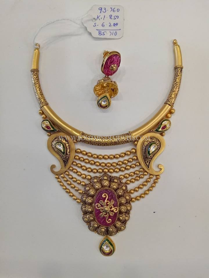 Gold Designer Antique Set With Jhumka
