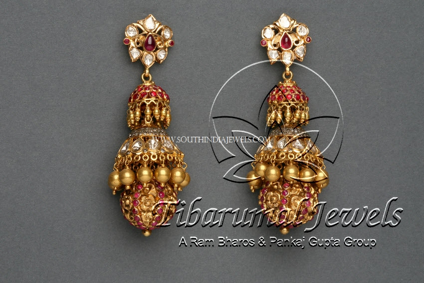 Gold Diamond Ruby Jhumka Design