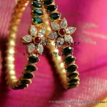 Gold Plated Bangle With Green Stones