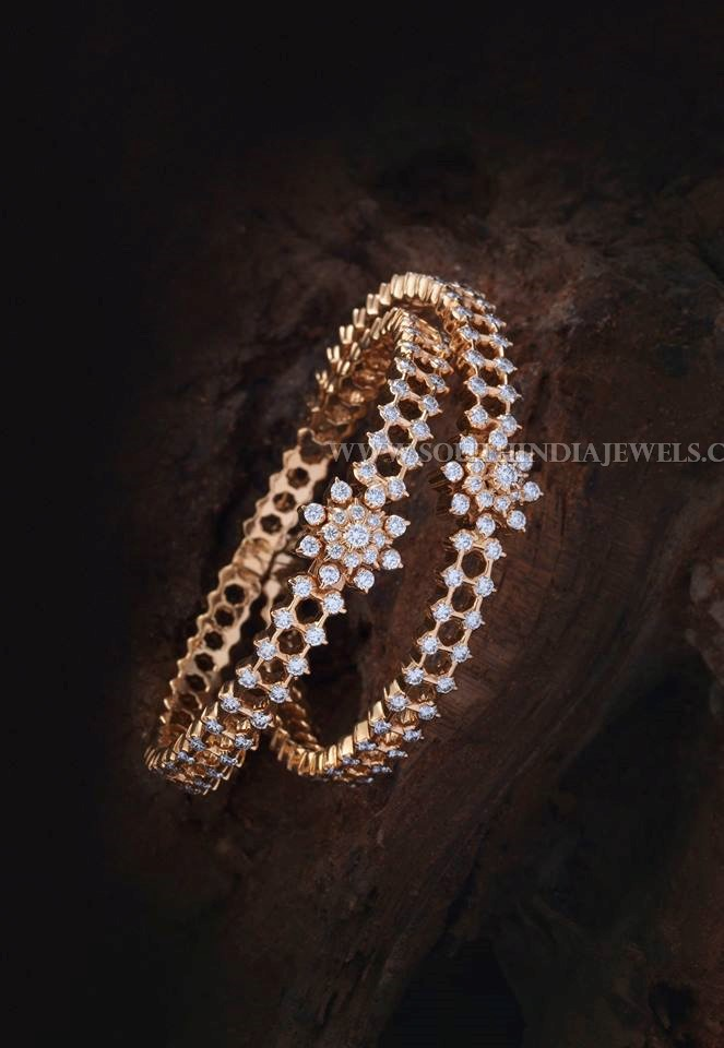gold diamond bangle with price details south india jewels