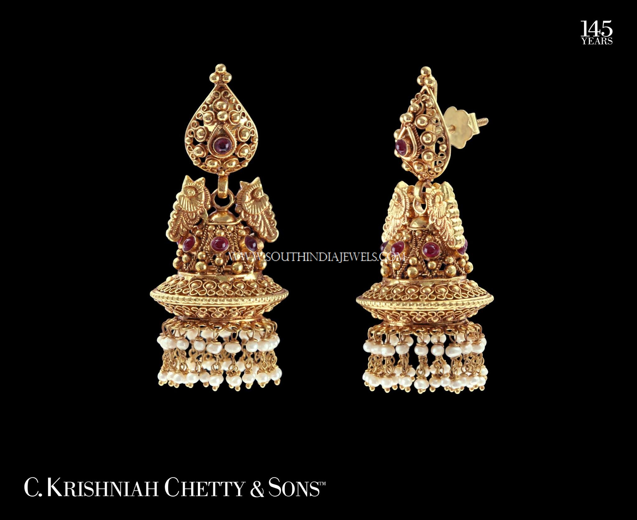 Kerala Style Gold Pearl Jhumka Design